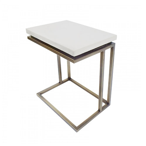Lansing White Concrete End Table