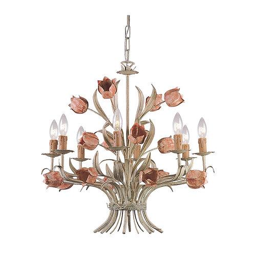 Southport 8 Light Sage Rose Chandelier