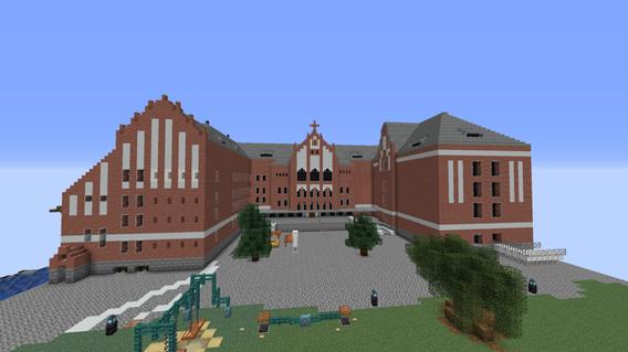 Minecraft-Modell der Jugendherberge am Ostkreuz von Pascal O., Leonardo R. und Jonas S., GO 20.4