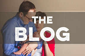 Image of couple holding baby with text the blog overlaid