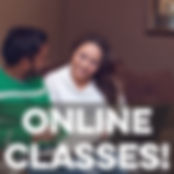 Image of couple in front of laptop computer with text Online Classes overlaid