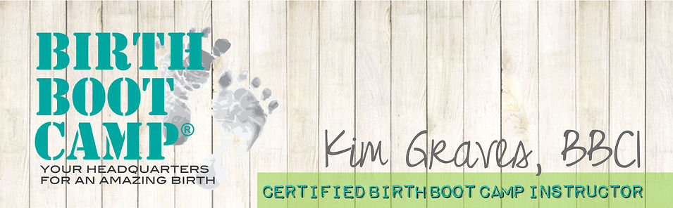 Homepage banner with text Birth Boot Camp, Kim Graves, BBCI, Certified Birth Boot Camp Instructor