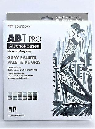 מארז מרקר דו צדדי בגווני אפור על בסיס אלכוהול - TOMBOW