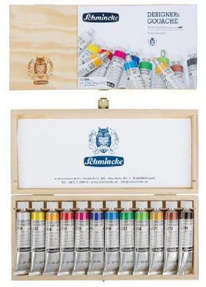 מארז מהודר צבעי גואש 12 שפופ' תוצרת Schmincke