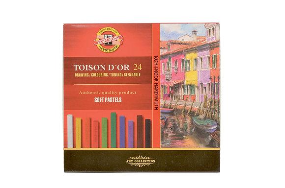 גירי פסטל צבעוניים מרובעים 24 יח׳