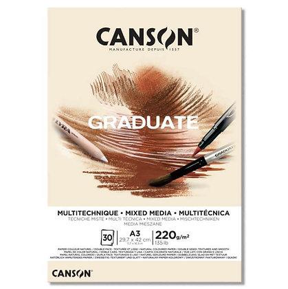 בלוק מיקס מדיה, מרקם חלק, בגוון טבעי A3 Canson
