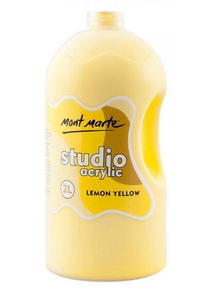 צבע אקריליק צהוב לימון  2 ליטר