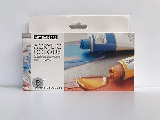 """סט צבעי אקריליק גוונים מטאליים 22 מ""""ל - Art Rangers"""