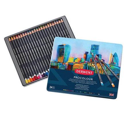 סט 24 עפרונות שעווה - ProColour Derwent