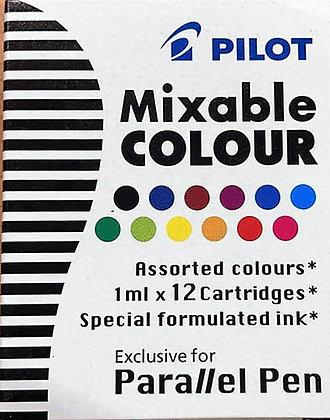 מארז 12 מילויים צבעוניים לפאראלל פן פיילוט