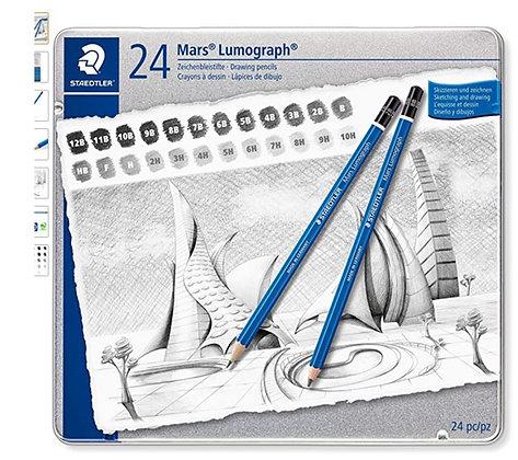 סט רישום שטדלר 24 עפרונות בדרגות  קושי מיוחדות 10H עד 12 B