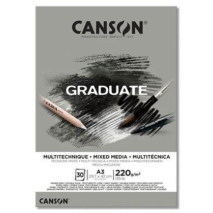 בלוק מיקס מדיה, מרקם חלק, גוון אפור A3 Canson