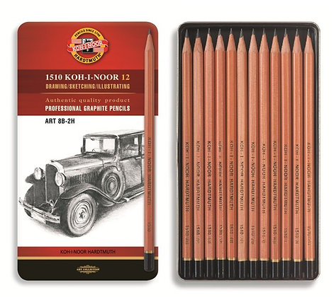 2H-8B סט עפרונות רישום 12 יח׳