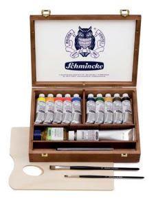 מארז מתנה - צבעי שמן במזוודת עץ מהודרת, מתוצרת schminke מסדרת mussini
