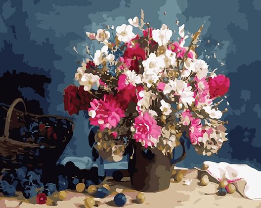 ערכת צביעה לפי מספרים 50*40 - פרחים
