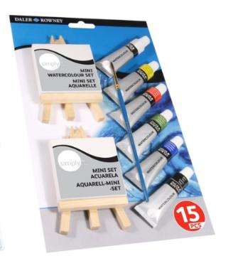 סט 15 חלקים, צבעי מים,כני ציור,מיני קנווס ומכחול