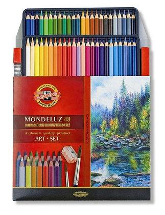 סט עפרונות אקוורל 48 יח׳ עם מחדד ומכחול
