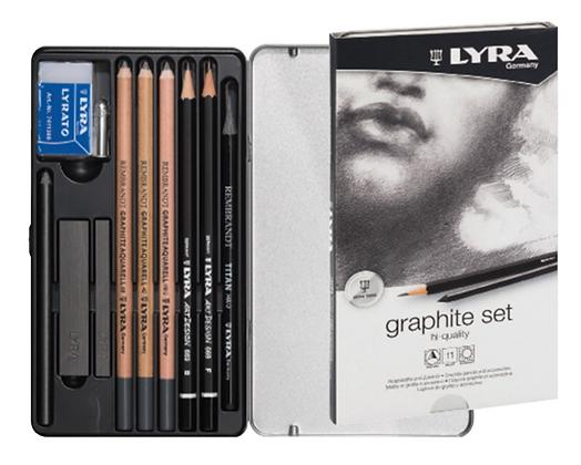 סט עפרונות גרפיט ופחם 11 יח׳