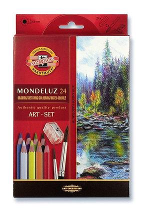 סט עפרונות אקוורל 24 יח׳ עם מחדד ומכחול