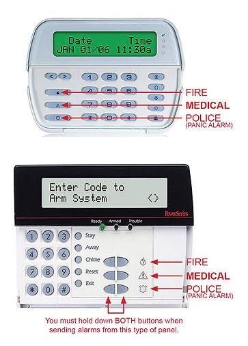 alarm panel examples for testing system