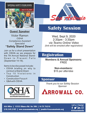 Safety Update - Safety Stand Down Sept20