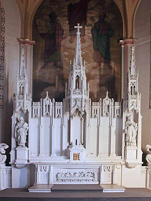 Altar - Neo-Gothic White Carrara Marble High Altar