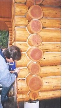 I'm sealing a saddle notch on a log cabin near Princeton BC. a