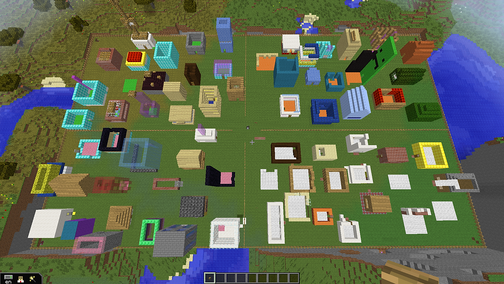 Sky view of all four villages.  This was after one day of building.