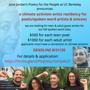 UC Berkeley's Poetry for the People Seeks Adult and Teen Climate Activists/Artists [Paid]