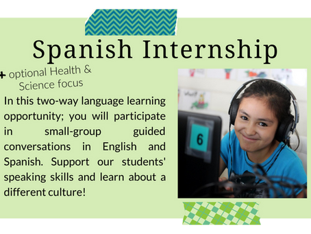 Virtual Spanish Internship: Registration Deadline 8/31