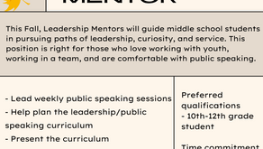 Join a Youth-Led Team to Promote Leadership, Advocacy, and Mentorship Among Middle Schoolers!