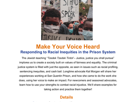 Make Your Voice Heard: Responding to Racial Inequities in the Prison System