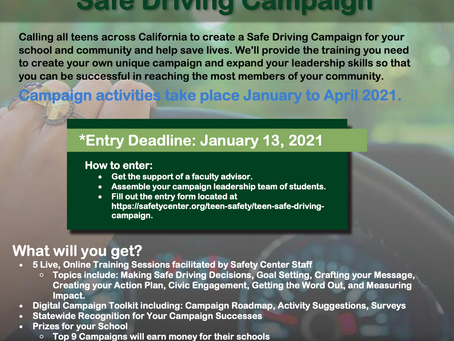 Safety Center's Teen to Teen Safe Driving Campaign Program