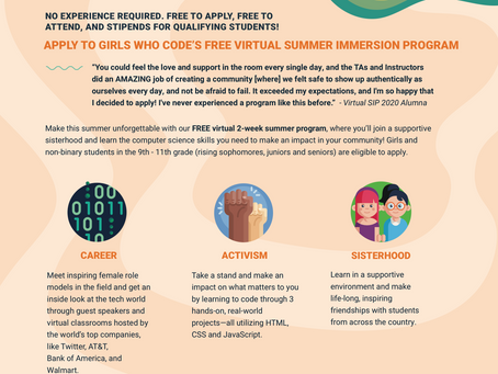 Girls Who Code's FREE Summer Immersion Program (SIP)