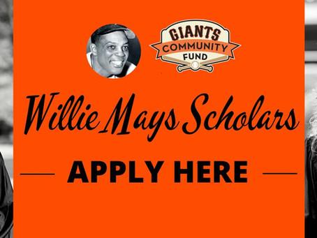 Apply! Willie Mays Scholars | Giants Community Fund | San Francisco Giants