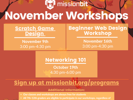 Missionbit - November Workshops [Design & Networking]