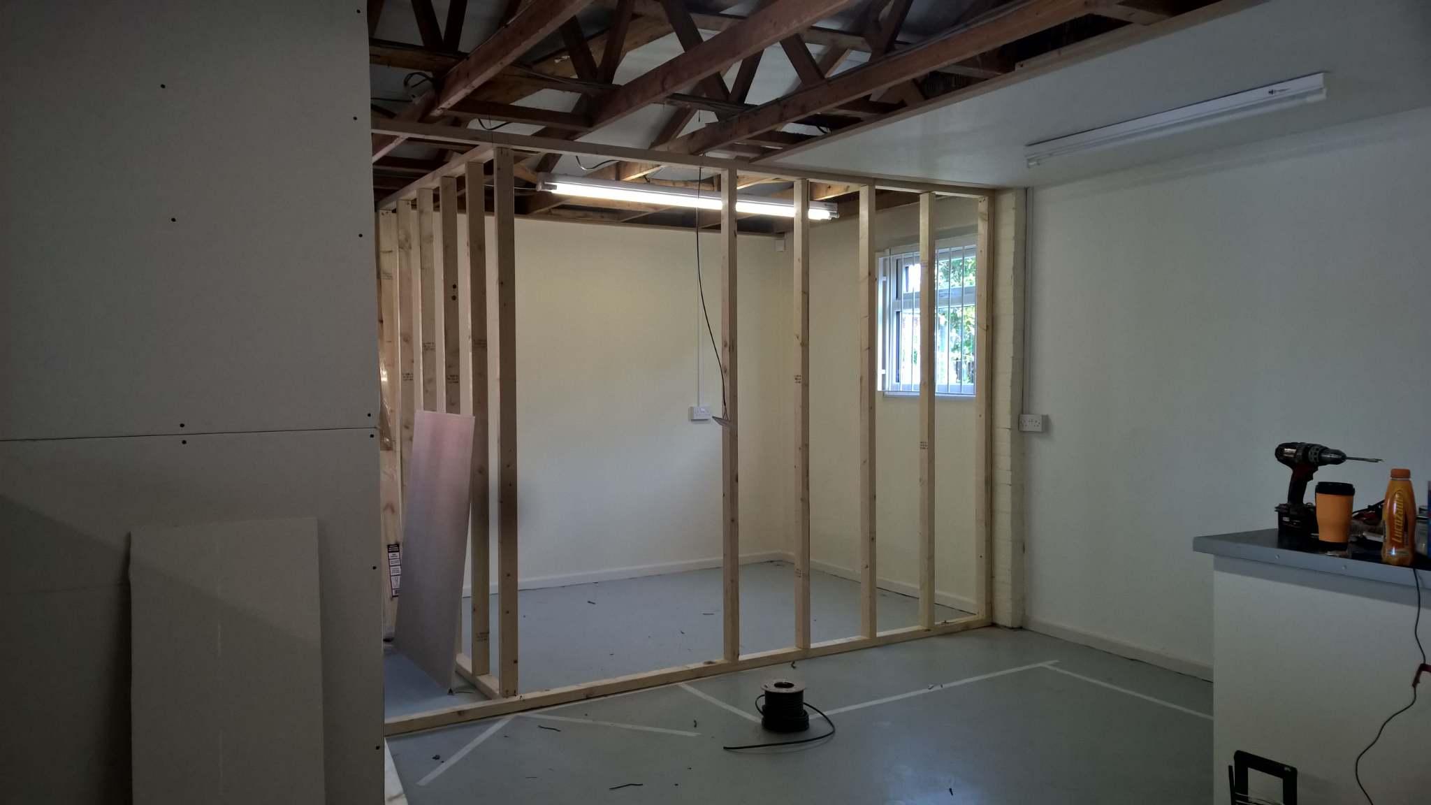 Unfinished quarantine room