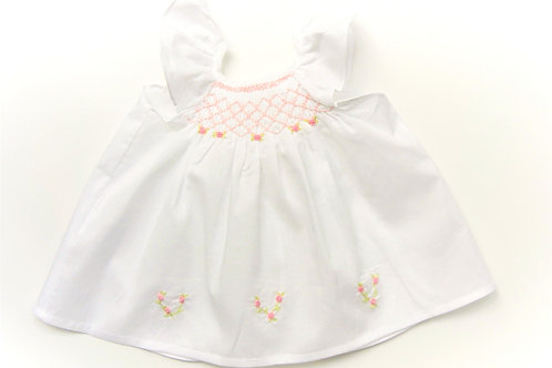 Anika Rose Butterfly Sleeve with Rosebud Trim (White)