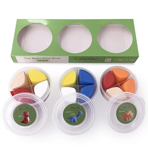 """The """"BABY DINO BROS"""" Air Dry Modeling Clay Set for Kids"""
