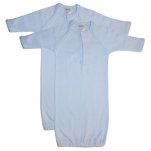 Bambini Preemie Solid Blue Gown - 2 Pack