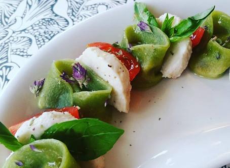 Spinach Tortelloni: Sun Blush Tomato, Classic Bluffala, Basil.
