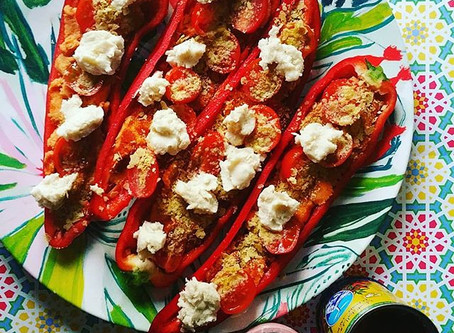 Roast Romano Peppers, Cherry Tomatoes, Bluffala.