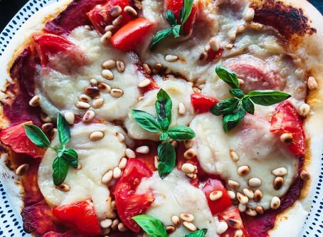 Sourdough Pizza: Bell Pepper, Pea Shoots, Bluffala Notzarlla..