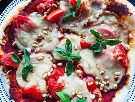 Sourdough Pizza: Bell Pepper, Pea Shoots, Garlic Bluffala.