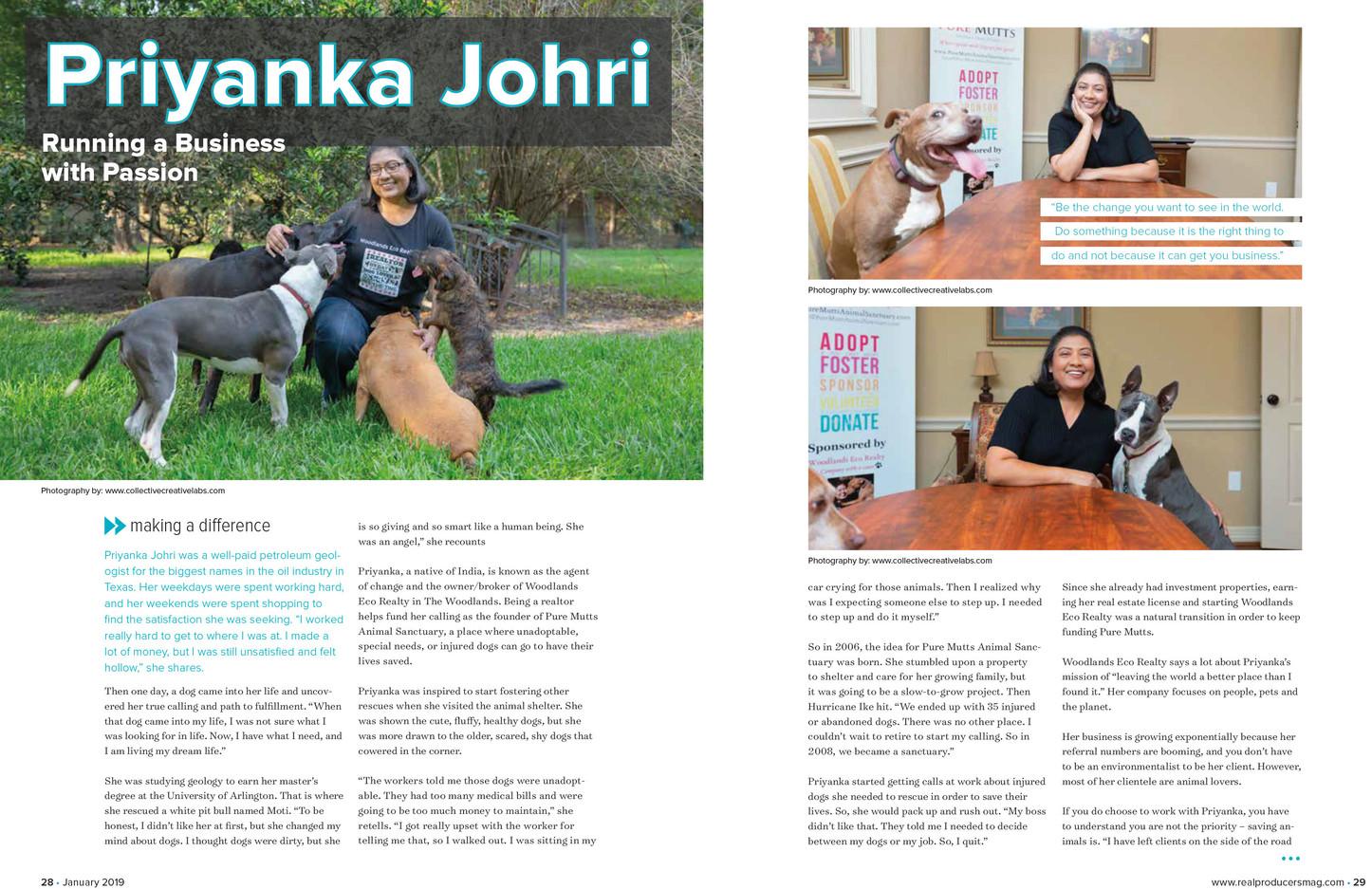 Feature Article: Priyanka Johri, Real Estate Agent & Animal Activist