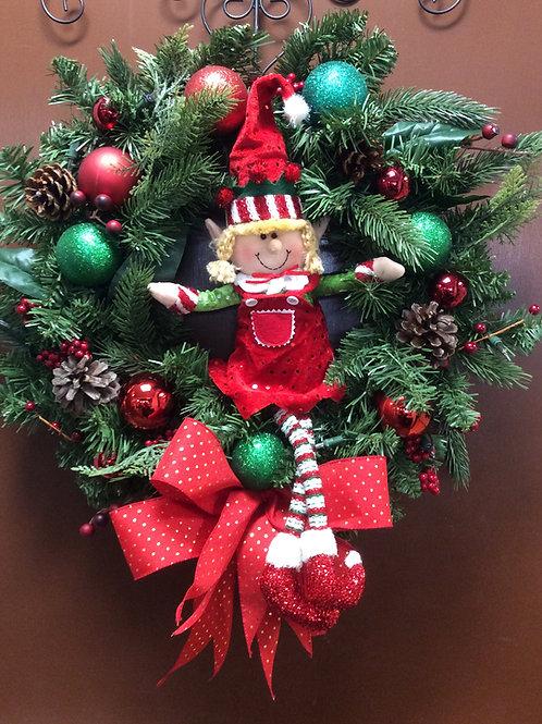 Christmas Elf Light-up Wreath