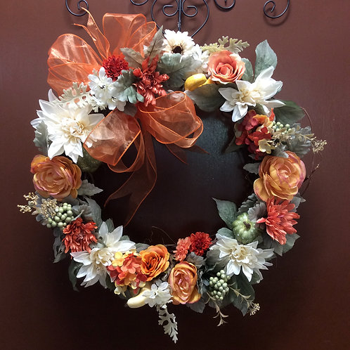 Coral,Sage, and Cream Wreath