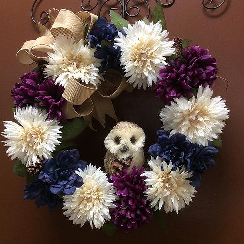 Blue, Cream, and Wine Mum Wreath