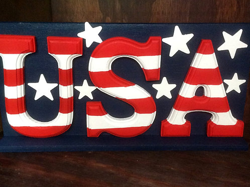 Hand-painted wooden USA display