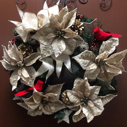 Gold Poinsettia Wreath